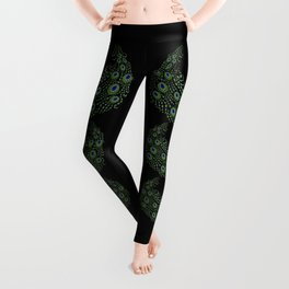 Jeweled Peacock on Black Leggings