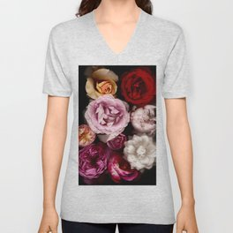 Red, White, Yellow, and Pink Roses Unisex V-Neck