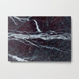 Black marble with white vains marble print luxuous real rock marble surface texture Metal Print