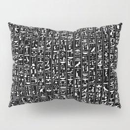 Hieroglyphics B&W INVERTED / Ancient Egyptian hieroglyphics pattern Pillow Sham