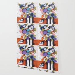 Chickadee Garden Floral Wallpaper
