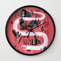 snake Wall Clocks featuring Snake by Maggie Chiang