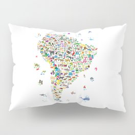 Animal Map of South America for children and kids Pillow Sham