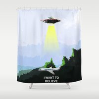i want to believe Shower Curtains featuring I WANT TO BELIEVE! by Bernardo Furlanetto