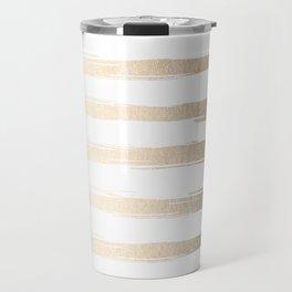 Simply Brushed Stripes White Gold Sands on White Travel Mug