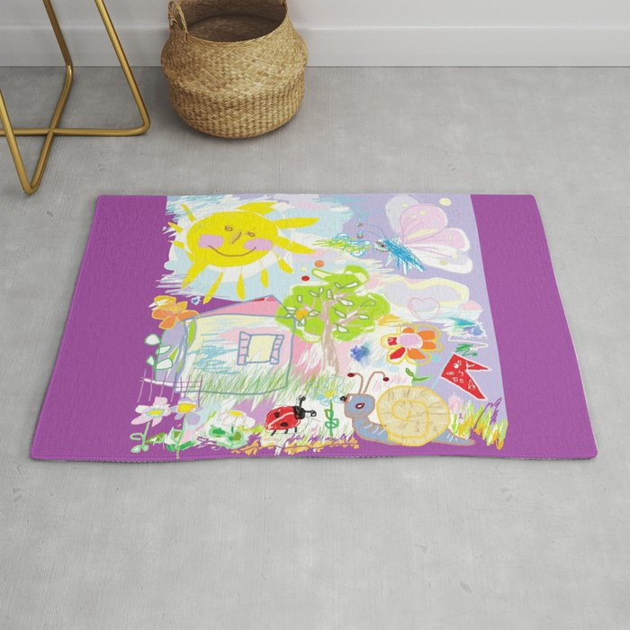 My Happy World Doodle For Children Room Nursery Home Decor Rug By Canisart