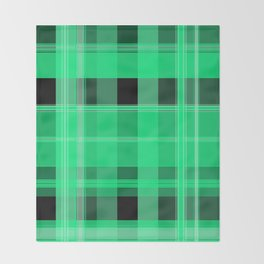 Shades of Green and Black Plaid Throw Blanket