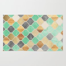 Charcoal, Mint, Wood & Gold Moroccan Pattern Rug