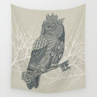 king Wall Tapestries featuring Owl King by Rachel Caldwell
