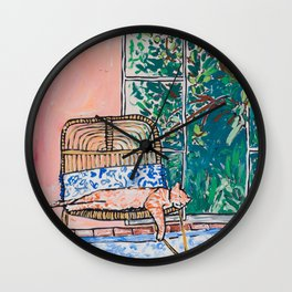 Napping Ginger Cat in Pink Jungle Garden Room Wall Clock