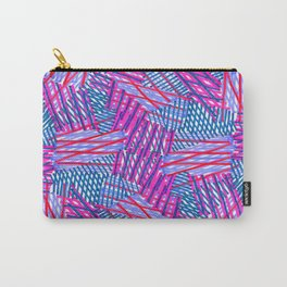 Pink and Blue Criss Cross - Sarah Bagshaw Carry-All Pouch