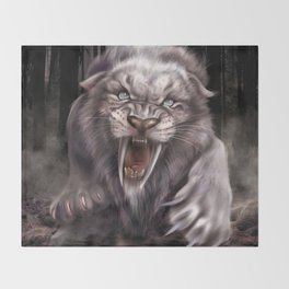 Albino Smilodon (Sabre Tooth Tiger) Throw Blanket
