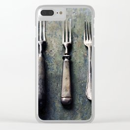 Vintage forks on rustic wooden background Clear iPhone Case