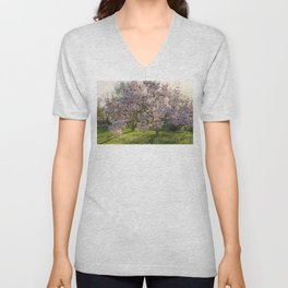 Magnolia tree in spring Unisex V-Neck