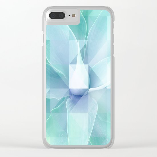Soft Geo Agave - Aqua and blue Clear iPhone Case
