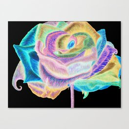Pretty in Pink (Neon Rainbow Rose) Canvas Print