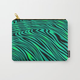 Neon Green and Black Jungle Stripes Pattern Carry-All Pouch