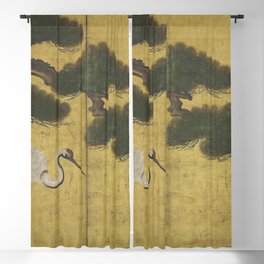 Japanese Red Crowned Crane Edo Jidai Gold Screen Print Blackout Curtain