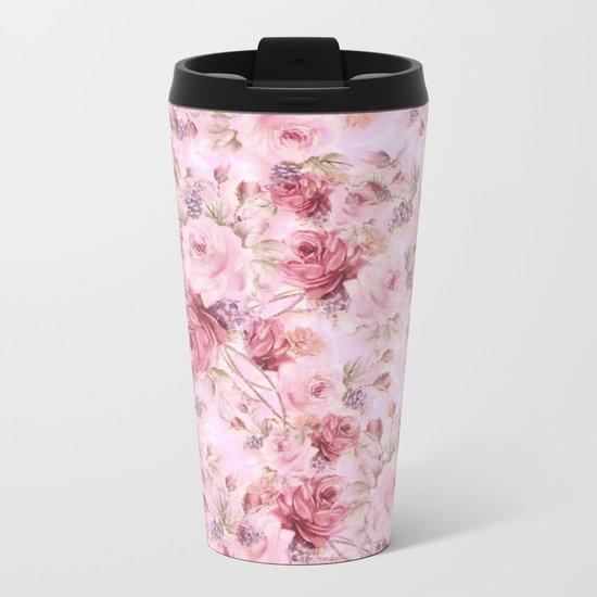 romantic pink roses Metal Travel Mug