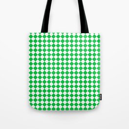 Small Diamonds - White and Dark Pastel Green Tote Bag