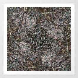 Feathers and bones -Desert sand Art Print