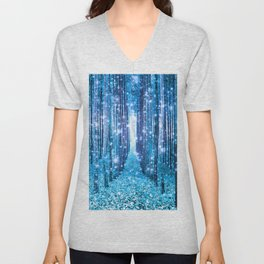 Magical Forest  Light Blue Turquoise Unisex V-Neck