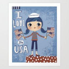 I Love the USA Art Print
