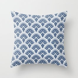 Fan Pattern 331 Monaco Blue Throw Pillow