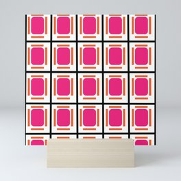 Pink Organs Black Checked and Lined Pattern Retro Mini Art Print