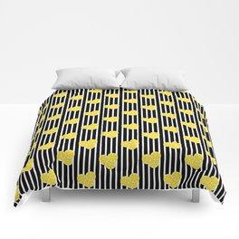 Lemon Slices on Black and White Stripes Comforters