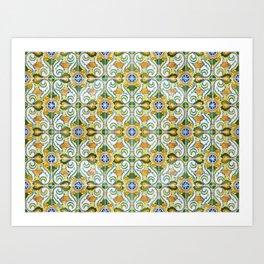 Seamless Floral Pattern Ornamental Tile Design : 9 yellow, green Art Print