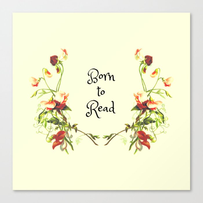 Born to Read Floral Canvas Print
