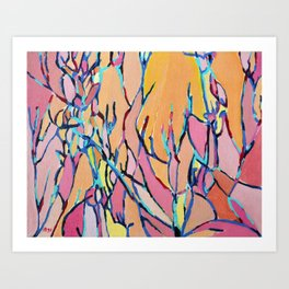 Branches in Pink Art Print
