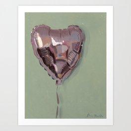 Pink Heart Balloon Art Print