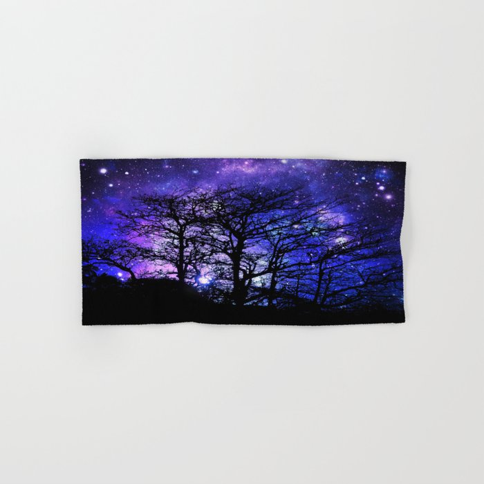 Black Trees Blue Violet Purple Space Hand & Bath Towel