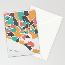 Baltimore Maryland Map with neighborhoods and modern round shapes Stationery Cards