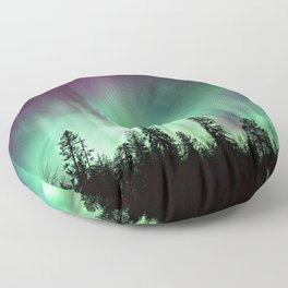 Colorful Northern Lights, Aurora Borealis Floor Pillow