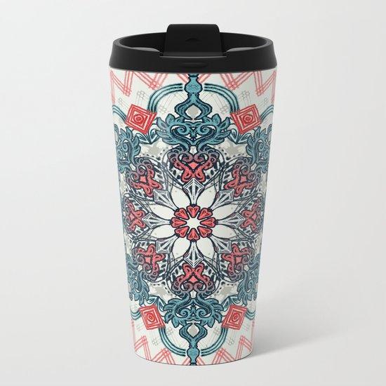 Coral & Teal Tangle Medallion Metal Travel Mug