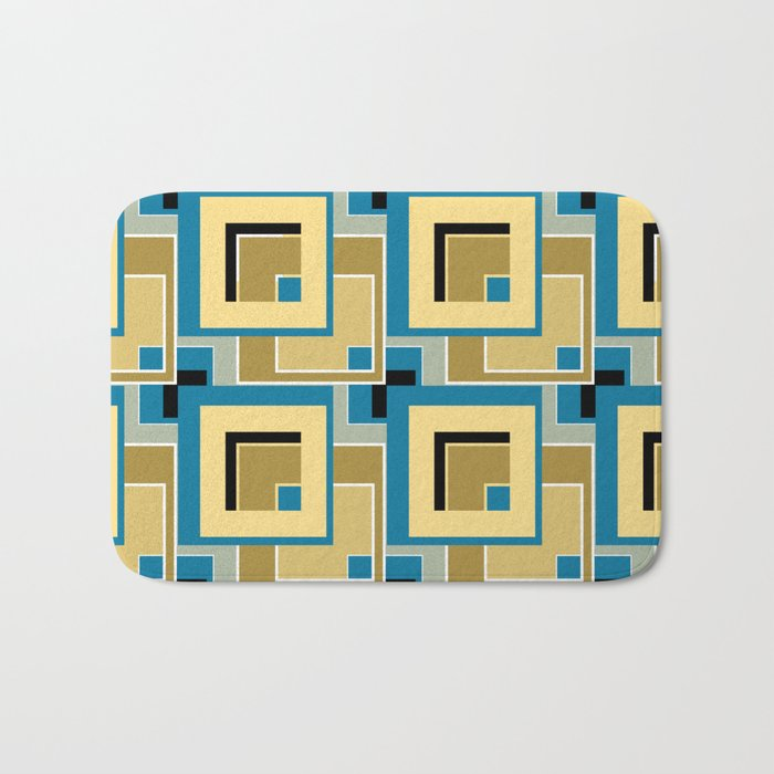 Olive and blue color in abstract painting . Bath Mat