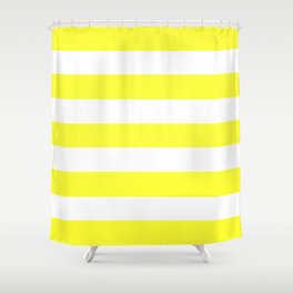 Electric yellow - solid color - white stripes pattern Shower Curtain