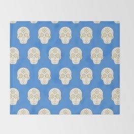 Día de Muertos • Mexican Sugar Skull – Blue & Gold Palette Throw Blanket