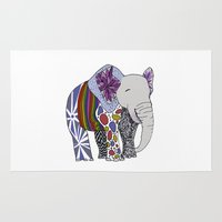 ellie goulding Area & Throw Rugs featuring ellie the elephant by Laura Flack