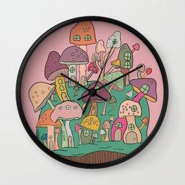 Mushroom Island - Pink, Mushrooms Wall Clock