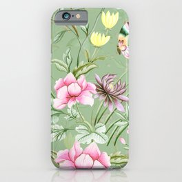 Vintage & Shabby Chic Chinoserie Pastel Spring Green Flowers And Birds Garden iPhone Case