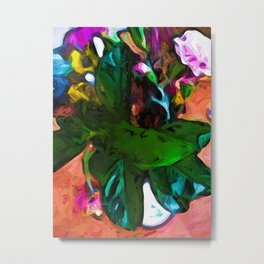 Green and Turquoise Leaves in a White Vase Metal Print