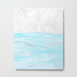 Watercolor aqua waves Metal Print