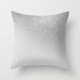 Diagonal Gray Silver Glitter Gradient Ombre Throw Pillow