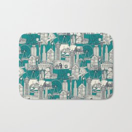 Seattle indigo teal Bath Mat