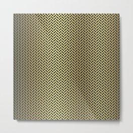Gold Black and White Herringbone Pattern Metal Print