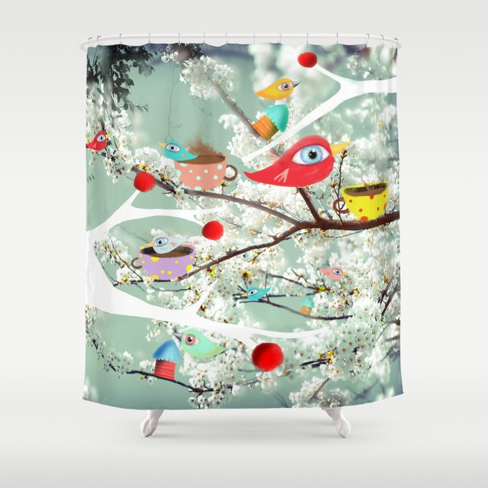Vintage Whimsical Christmas Shower Curtain by rupydetequila